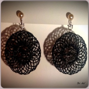 Black and pearl classic...Medium size special black Macrame with 925 Sterling silver and synthetic pearl Clip earrings