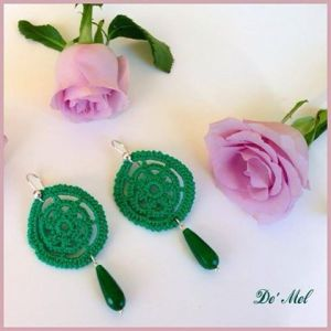 Emerald green hand-made crochet earrings with 925 sterling silver and opaque emerald