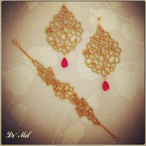 De' Mel princess earrings in rich gold with pink agate and gold hardware here with matching Venetian lace bracelet