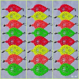 Attention Fluo lovers!! De' Mel drop shape Venetian lace earrings now available in green, orange,yellow and pink