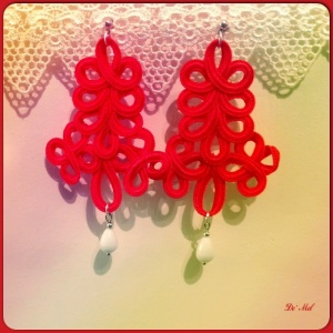 Passion red, large Italian ornamental cord earrings with white agate and silver hardware