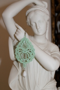 Mint green drop shape Venetian lace earrings with white agate (Semi- precious stone) and silver hardware