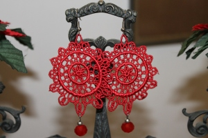 Venetian lace earrings with red swarovski crystal and silver hardware