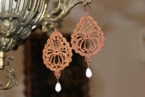 Copper color drop-shape Venetian lace earrings with white agate (semi-precious stone) and bronze hardware