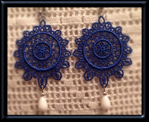 Brazilian blue full-moon Venetian lace earrings with white agate (semi-precious stone) and silver hardware
