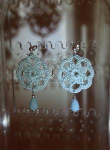 Sea foam green small hand-made crochet earrings with Brazilian Amazonite (Semi-precious stone) and silver hardware
