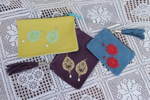 Multicolor Venetian lace earrings with multicolor clutches!