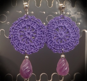 Purple small hand-made crochet earrings with Uruguayan Amethyst and silver hardware