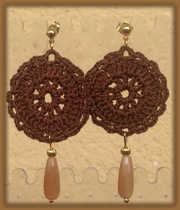 Coffee color medium hand-made crochet earrings with golden stone (semi-precious stone) and gold hardware
