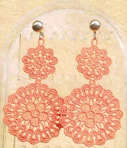 Peruvian Lucuma extra large Venetian lace earrings with silver hardware
