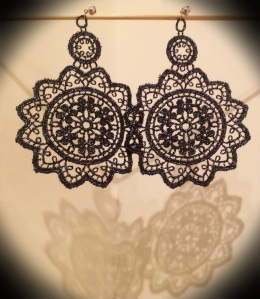 Extra-large metallic black Venetian lace earrings with silver hardware