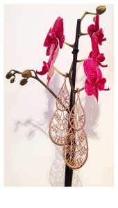 Rich gold extra-large drop shape Venetian lace earrings with gold hardware