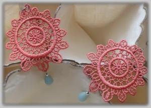 Peruvian Lucuma full-moon Venetian lace earrings with Brazilian Amazonite (Semi-precious stone) and silver hardware