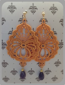 Tangerine drop-shape Venetian lace earrings with Uruguayan Amethyst and gold hardware