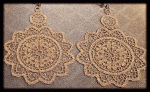 Extra large light gold Venetian lace earrings with gold hardware