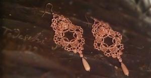 Copper color unique shape Venetian lace with golden stone (semi-precious stone) and bronze hardware
