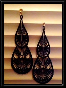 Extra large black tear drop Venetian lace earrings with gold hardware