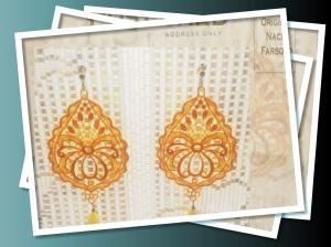 Lemon drop shape Venetian lace with yellow quartz and silver hardware