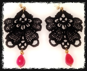 Medium black Venetian lace earrings with opaque ruby and gold hardware