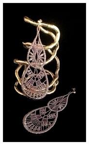 Large tear drop Venetian lace earrings with silver hardware