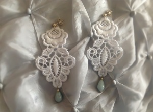 Flower shape white Venetian lace earrings with sea foam green Brazilian Amazonite and silver hardware