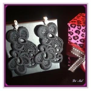 "Large ""S"" shape Venetian lace earrings with silver Swarovski hardware"