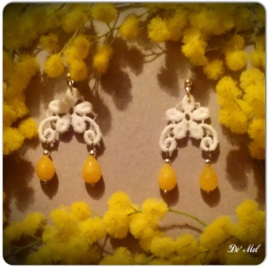 Small white flower shape Venetian lace earrings with yellow quartz and silver hardware