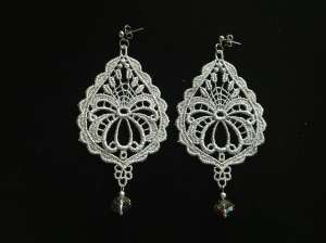 Silver drop shape Venetian lace earrings with Swarovski crystal and silver hardware