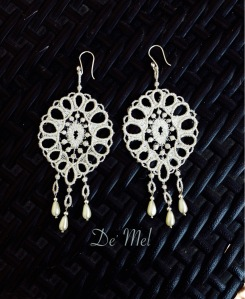 De' Mel extra large Silver/white Venetian lace earrings with small synthetic pearls and 925 Peruvian Sterling silver hardware