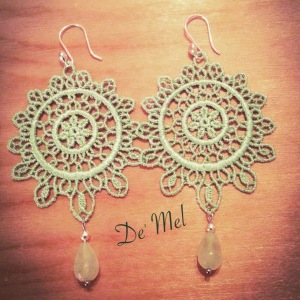 De' Mel Moon shape aqua green Venetian lace earrings with aqua green quartz and 925 Peruvian Sterling silver