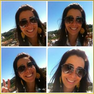 Brazilian sunshine! Larissa is wearing lemon color full moon Venetian lace earrings with white agate and silver hardware