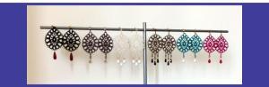 Pear shape multicolor Venetian lace range of earrings with one or multiple semi-precious stones