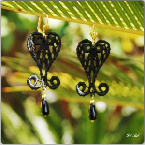 Black medium heart shape Venetian lace earrings with drop shape onyx and gold hardware