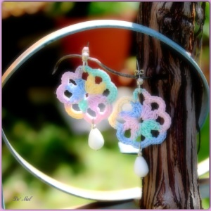 Multicolor small hand-made crochet earrings with silver hardware and white agate (semi-precious stone)