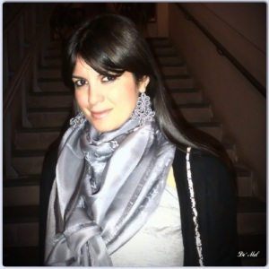 Roberta: Southern Italian beauty wearing pearl-gray Ornamental cord earrings with white agate and silver hardware, here matched perfectly with a Louis Vuitton silk foulard
