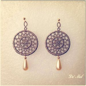 Round etoupe color Venetian lace earrings with synthetic drop shape pearl and gold hardware