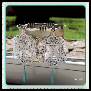 Pure white hexagon shape Venetian lace with drop shape turquoise (semi-precious stone) and silver (nickel-free) hardware