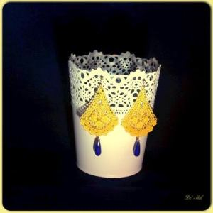 Yellow and blue...lemon color bell-shape Venetian lace earrings with opaque Safire and gold hardware