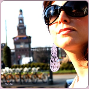 Extra large silver mauve Venetian lace earrings with silver hardware