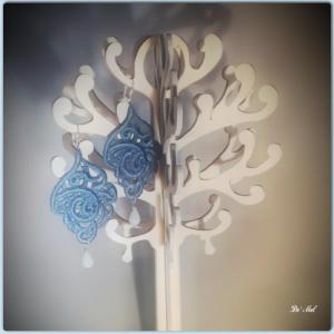 Blue-gray leaf shape Venetian lace earrings with ice-blue chalcedony and silver hardware