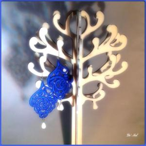 Electric blue leaf shape Venetian lace earrings with white agate and silver hardware