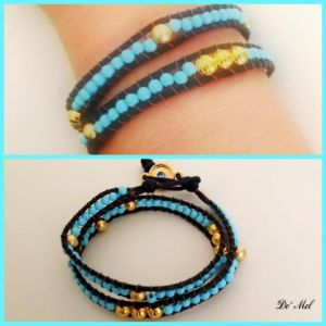 NEW! Leather and turquoise beads wrap bracelet