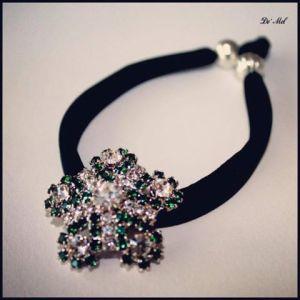Unique piece...Vintage button black lycra bracelet with silver finishing