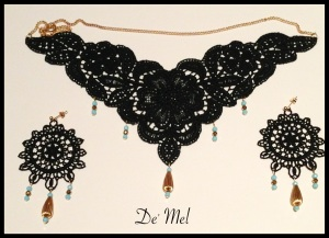Black Venetian lace embellished necklace and matching Earrings with Turquoise beads (Semi-precious stones) and gold hardware